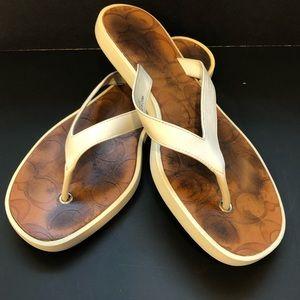 Coach White Flip Flops size 6